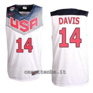 canotte anthony davis #14 nba usa 2014 bianca