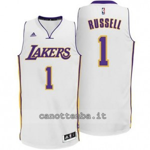 canotte d'angelo russell #1 los angeles lakers 2014-2015 bianca