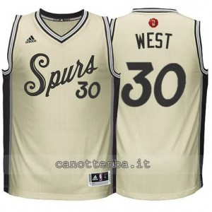 canotte david west #30 san antonio spurs natale 2015 giallo