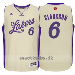 canotte jordan clarkson #6 los angeles lakers natale 2015 giallo