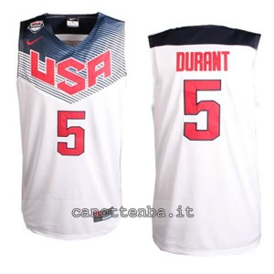 canotte kevin durant #5 nba usa 2014 bianca