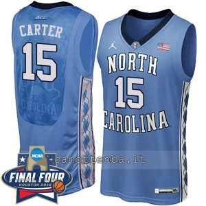canotte ncaa north carolina tar heels vince carter #15 blu