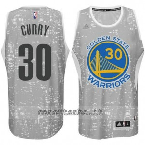 canotte stephen curry #30 golden state warriors lights grigio