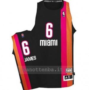 maglia LeBron James #6 miami heat floridian nero