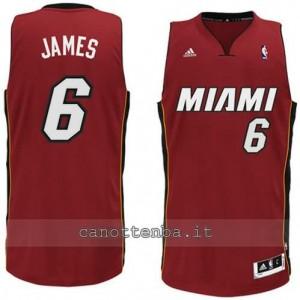 maglia LeBron james #6 miami heat revolution 30 rosso