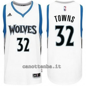 maglia anthony towns #32 minnesota timberwolves bianca