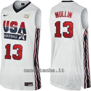 maglia basket chris mullin #13 nba usa 1992 bianca