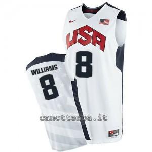 maglia basket deron williams #8 nba usa 2012 bianca