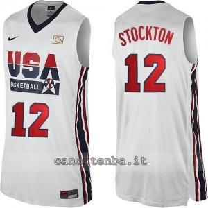 maglia basket john stockton #12 nba usa 1992 bianca