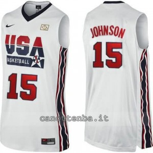 maglia basket magic johnson #15 nba usa 1992 bianca