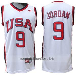 maglia basket michael jordan #9 nba usa 1984 bianca