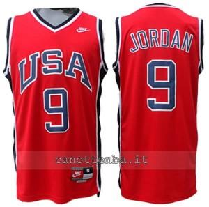 maglia basket michael jordan #9 nba usa 1984 rosso