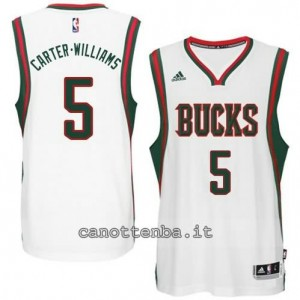 maglia carter williams #5 milwaukee bucks 2014-2015 bianca
