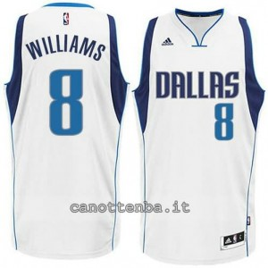 maglia deron williams #8 dallas mavericks 2015 bianca