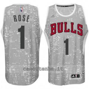 maglia derrick rose #1 chicago bulls lights grigio
