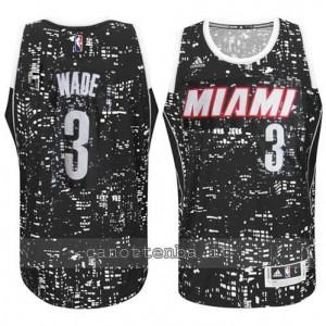 maglia dwyane wade #3 miami heat lights nero
