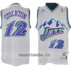 maglia john stockton #12 utah jazz retro bianca