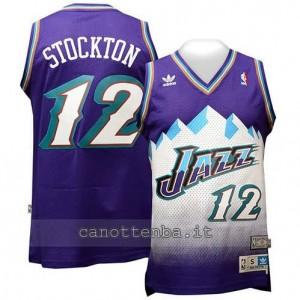 maglia john stockton #12 utah jazz retro blu