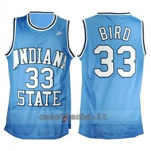 maglia ncaa indiana state larry bird #33 blu