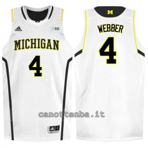 maglia ncaa michigan wolverines chris webber #4 bianca