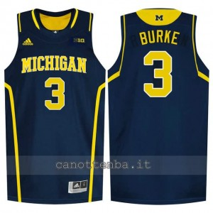 maglia ncaa michigan wolverines trey burke #3 blu