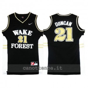 maglia ncaa wake forest demon deacons tim duncan #21 nero