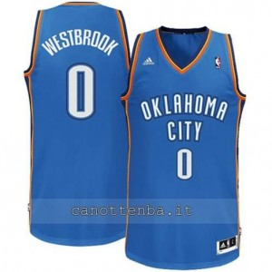maglia russell westbrook #0 oklahoma city thunder revolution 30 blu