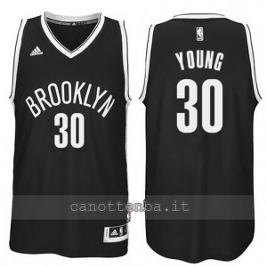 maglia thaddeus young #30 brooklyn nets revolution 30 nero