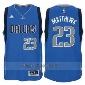 maglia wesley matthews #23 dallas mavericks swingman blu