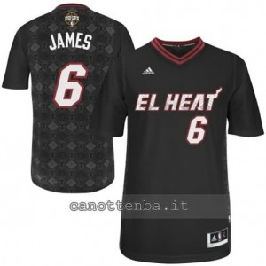 maglietta LeBron james #6 miami heat nero