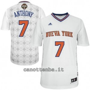 maglietta carmelo anthony #7 new york knicks 2014 bianca