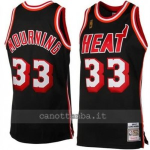 canotte alonzo mourning #33 miami heat retro nero