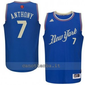 canotte carmelo anthony #7 new york knicks natale 2015 blu