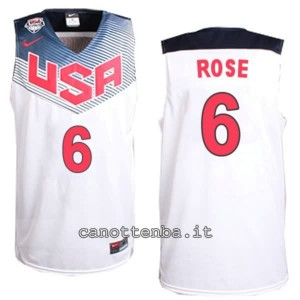 canotte derrick rose #6 nba usa 2014 bianca
