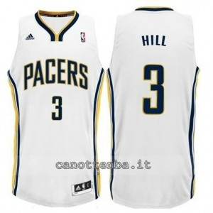 canotte george hill #3 indiana pacers revolution 30 bianca