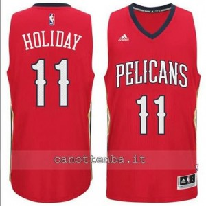 canotte jrue holiday #11 new orleans pelicans 2014-2015 rosso