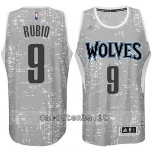 canotte ricky rubio #9 minnesota timberwolves lights grigio