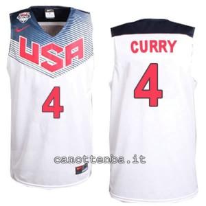canotte stephen curry #4 nba usa 2014 bianca