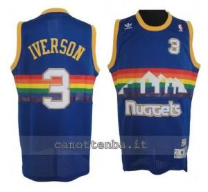 maglia allen iverson #3 denver nuggets soul blu