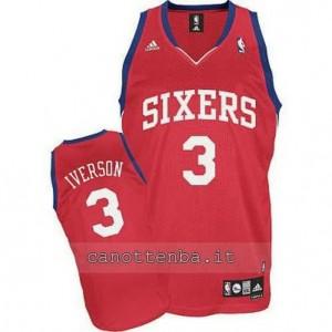 maglia allen iverson #3 philadelphia 76ers revolution 30 rosso
