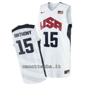 maglia basket carmelo anthony #15 nba usa 2012 bianca