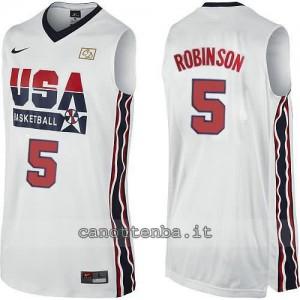 maglia basket david robinson #5 nba usa 1992 bianca