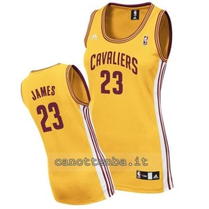 maglia basket donna lebron james #23 cleveland cavaliers giallo