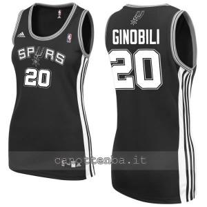 maglia basket donna manu ginobili #20 san antonio spurs nero