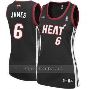 maglia basket donna miami heat LeBron James #6 nero