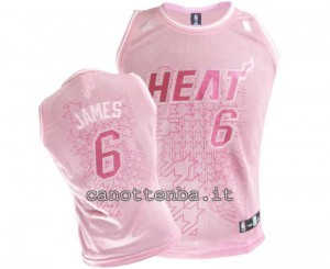 maglia basket donna miami heat LeBron James #6 rosa