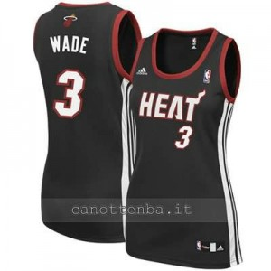 maglia basket donna miami heat dwyane wade #3 nero