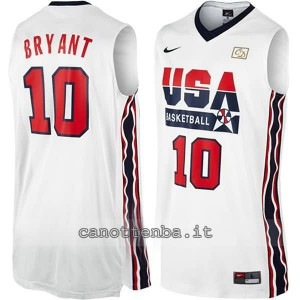 maglia basket kobe bryant #10 nba usa 1992 bianca