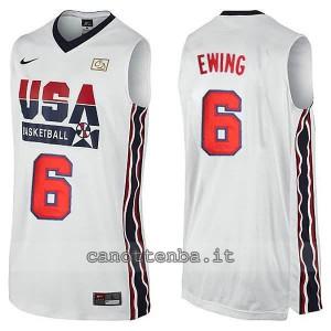 maglia basket patrick ewing #6 nba usa 1992 bianca