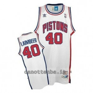 maglia bill laimbeer #40 detroit pistons bianca